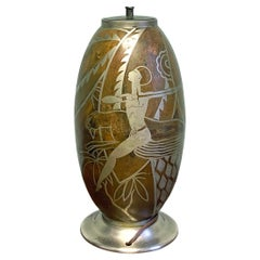 """""""Swordsman and Running Panther,"""" High Style Art Deco Lamp Base, Copper & Silver"""