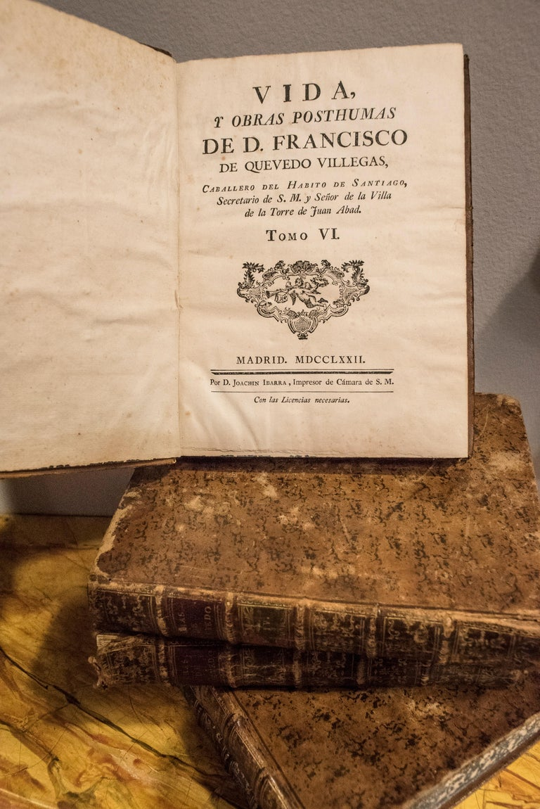 Late 18th Century Sxviii 5 Works of  D Francisco  Quevedo Villegas by D Joaquin Ibarra For Sale