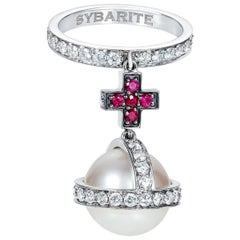 Sybarite Jewellery South Sea Pearl Round Cut Ruby Diamond Dangle Ring