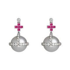Sybarite 18 Karat White Gold 1.89 Carat Diamonds Pearl Ruby Drop Earrings