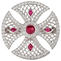 Sybarite Jewellery Cluster Diamond Ring Set 4.70 Carat Cabochon Cut Ruby