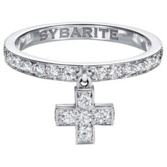 Sybarite Jewellery 1.22 Carat Diamond Cross Band Ring 18 Karat Gold