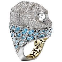 Sybarite Jewellery 18 Karat Gold 8.36 Carats Diamond Cocktail Polar Bear Ring