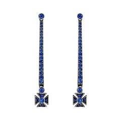 Sybarite Jewellery 18 Karat Gold Blue Sapphires Heritage Elegant Drop Earrings