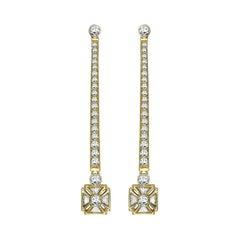 Sybarite Jewellery 18 Karat Yellow Gold White Diamonds Elegant Drop Earrings