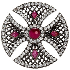 Sybarite Jewellery 4.9 Carat White Diamonds Set 2.59 Rubies Cocktail Ring