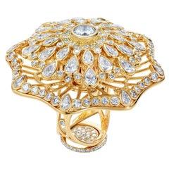 Sybarite Jewellery 18 Karat Yellow Gold 8.42 Carat Diamonds Cocktail Ring