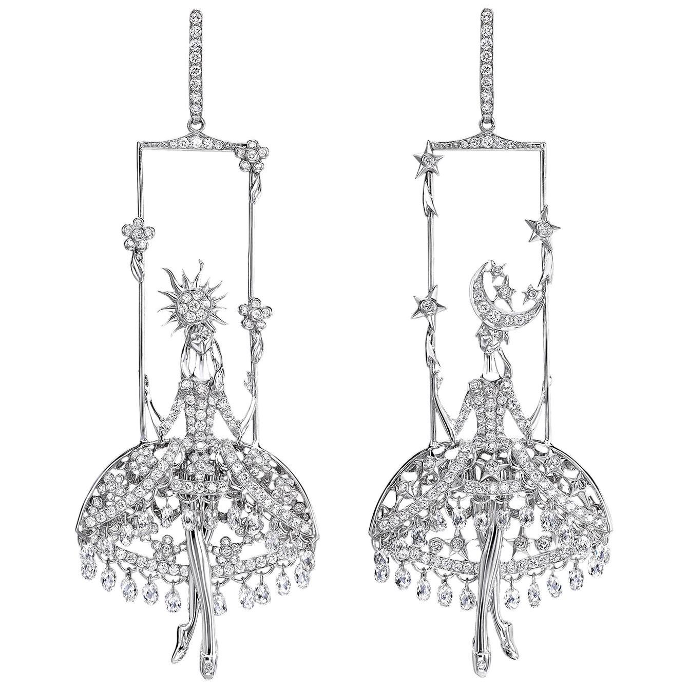 Sybarite Jewellery Fairies Chandelier Earrings 8.95 Carat Diamond 18 Karat Gold