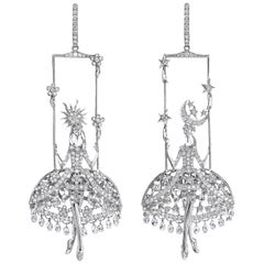 Sybarite Jewellery Fairies Chandelier Earrings 8.95 Carat Diamond 18 Karat Gold