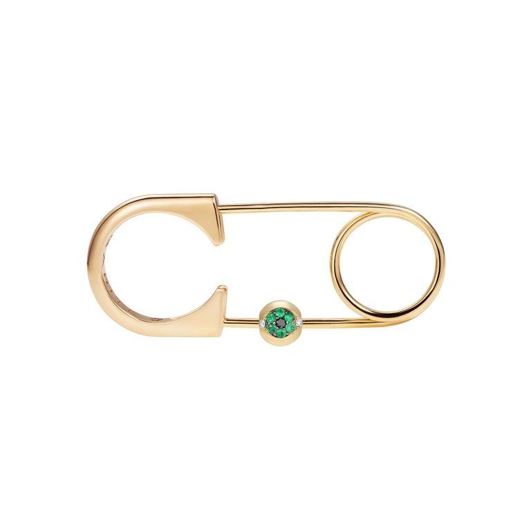 Contemporary Sybarite Jewellery Diamond Charm 18 Karat Yellow Gold Round Cut Emeralds