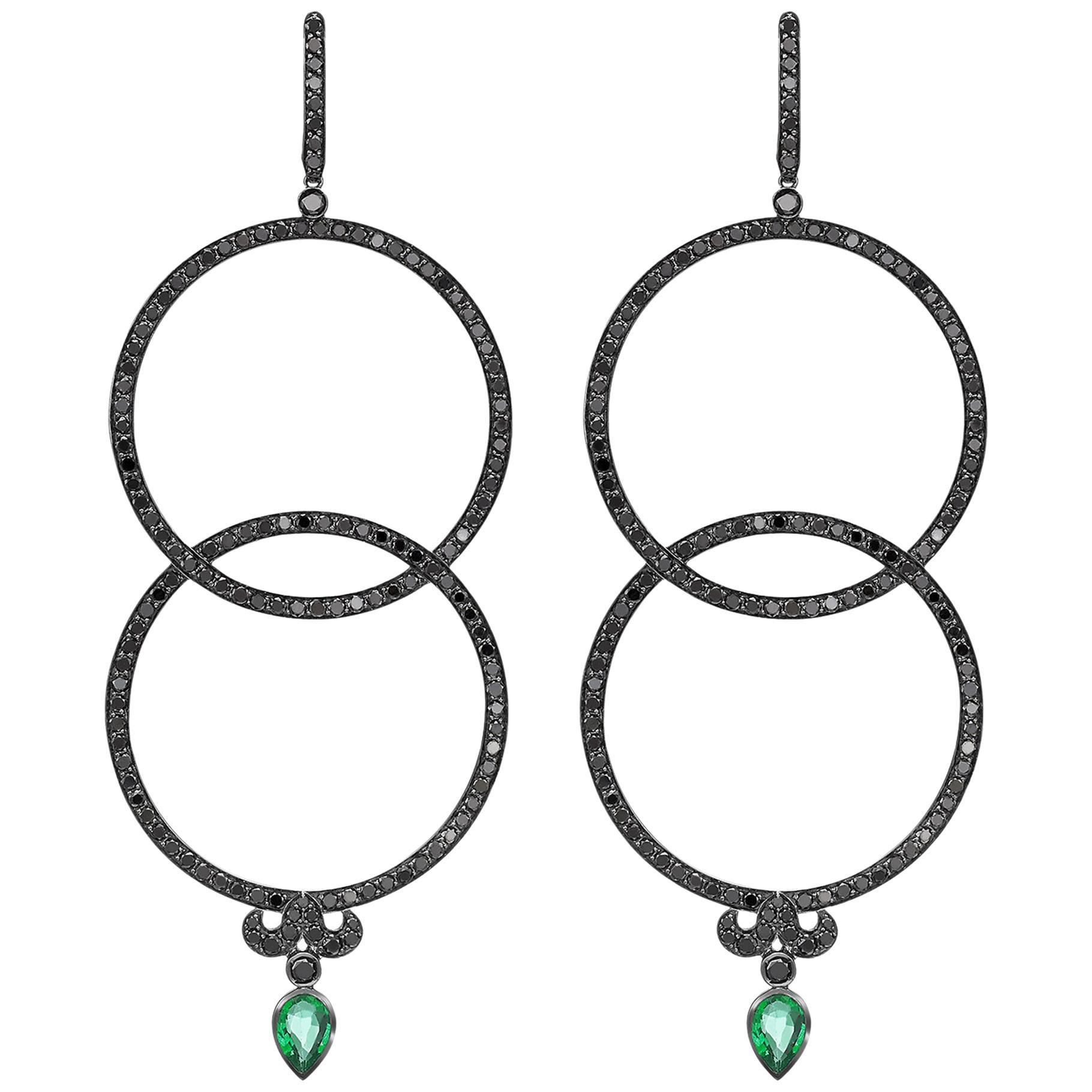 Sybarite Jewellery Earrings 18 Karat Gold 5.5 Carat Diamonds 1.2 Carat Emeralds