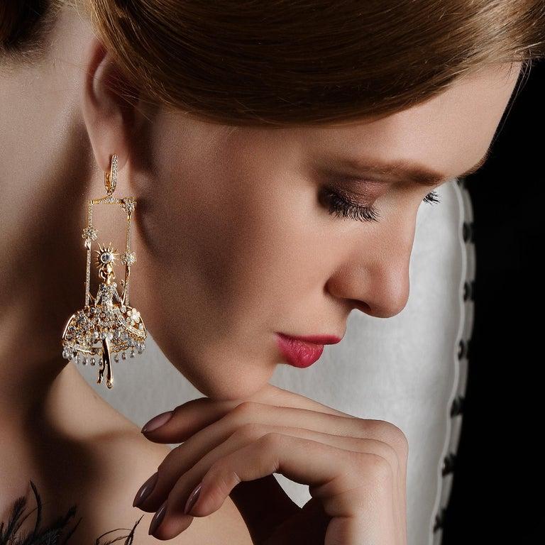 Briolette Cut Sybarite Jewellery Fairies Earrings 12.17 Carat Diamond 18 Karat Yellow Gold For Sale