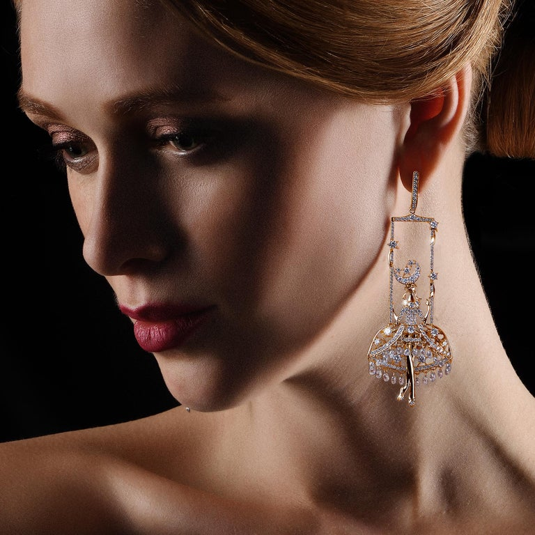 Sybarite Jewellery Fairies Earrings 12.17 Carat Diamond 18 Karat Yellow Gold In New Condition For Sale In London, GB
