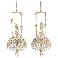 Sybarite Jewellery Fairies Earrings 12.17 Carat Diamond 18 Karat Yellow Gold