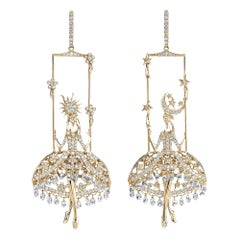 Sybarite Jewellery Fairies Earrings 12.17 Carat Diamond 18 Karat Yellow Gold