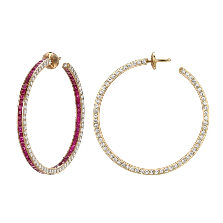 Contemporary Sybarite Jewellery Hoop Earrings 6.39 Carats White Diamonds 8.4 Carats Rubies For Sale
