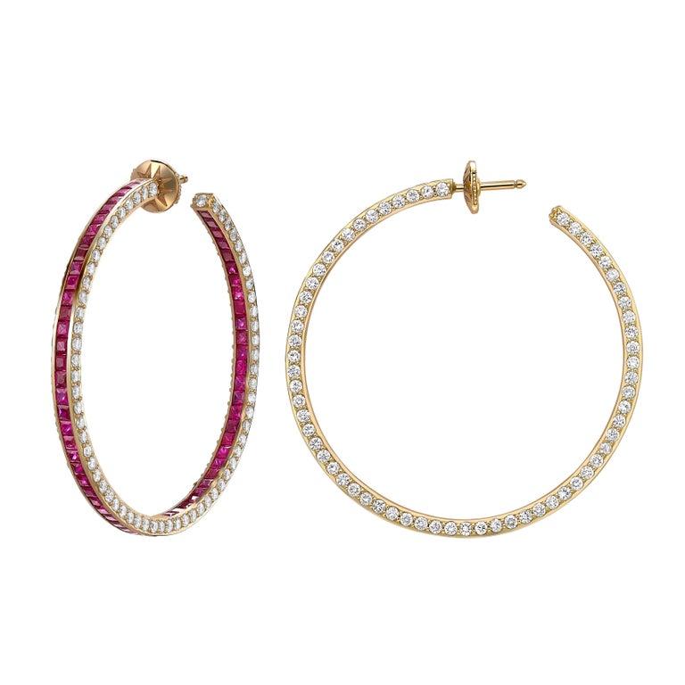 Princess Cut Sybarite Jewellery Hoop Earrings 6.39 Carats White Diamonds 8.4 Carats Rubies For Sale
