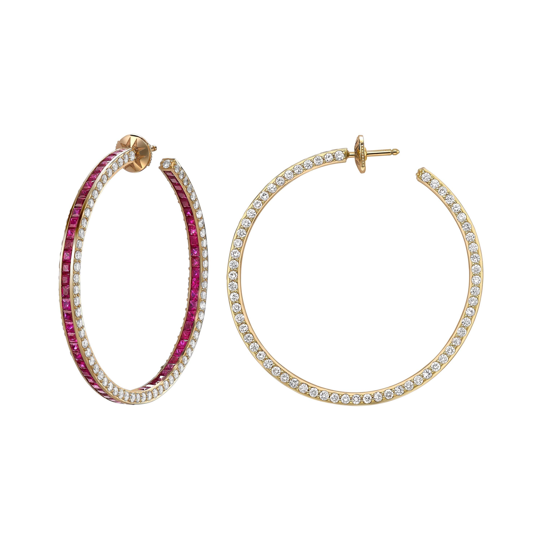 Sybarite Jewellery Hoop Earrings 6.39 Carats White Diamonds 8.4 Carats Rubies