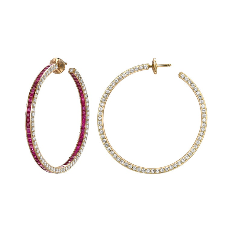 Sybarite Jewellery Hoop Earrings 6.39 Carats White Diamonds 8.4 Carats Rubies For Sale