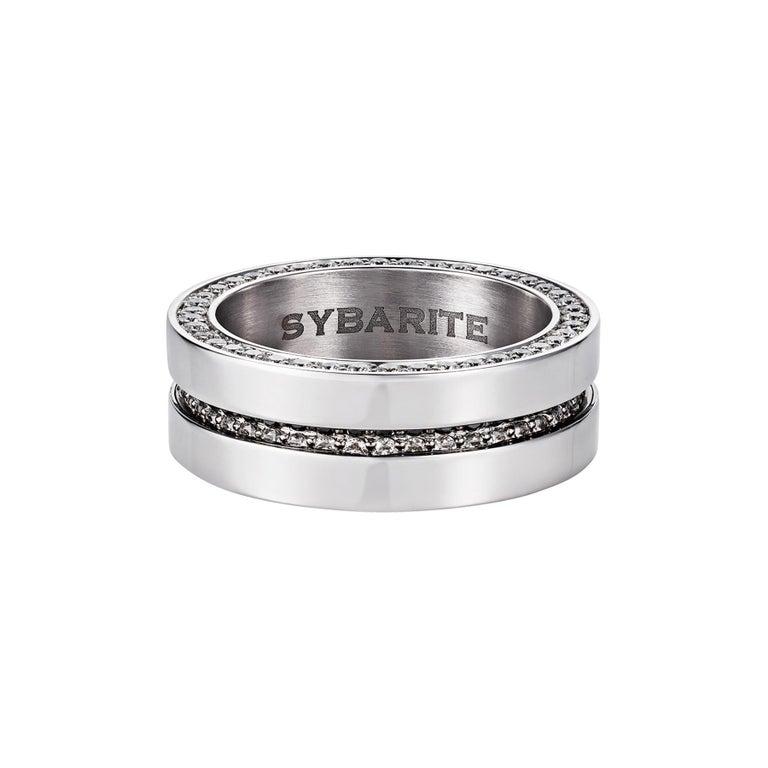 Contemporary Men's Ring 2.40 Carat White Diamonds 20.85 Gold For Sale