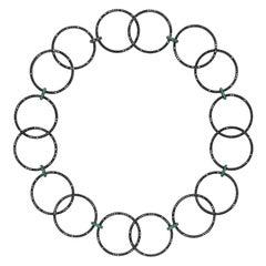 Sybarite Jewellery Plie Necklace 18 Karat Gold 19.20 Carat Diamonds Emeralds