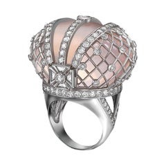 Sybarite Jewellery Royal Jubilee Cocktail 4.41 Carat Diamond Pink Quartz Ring