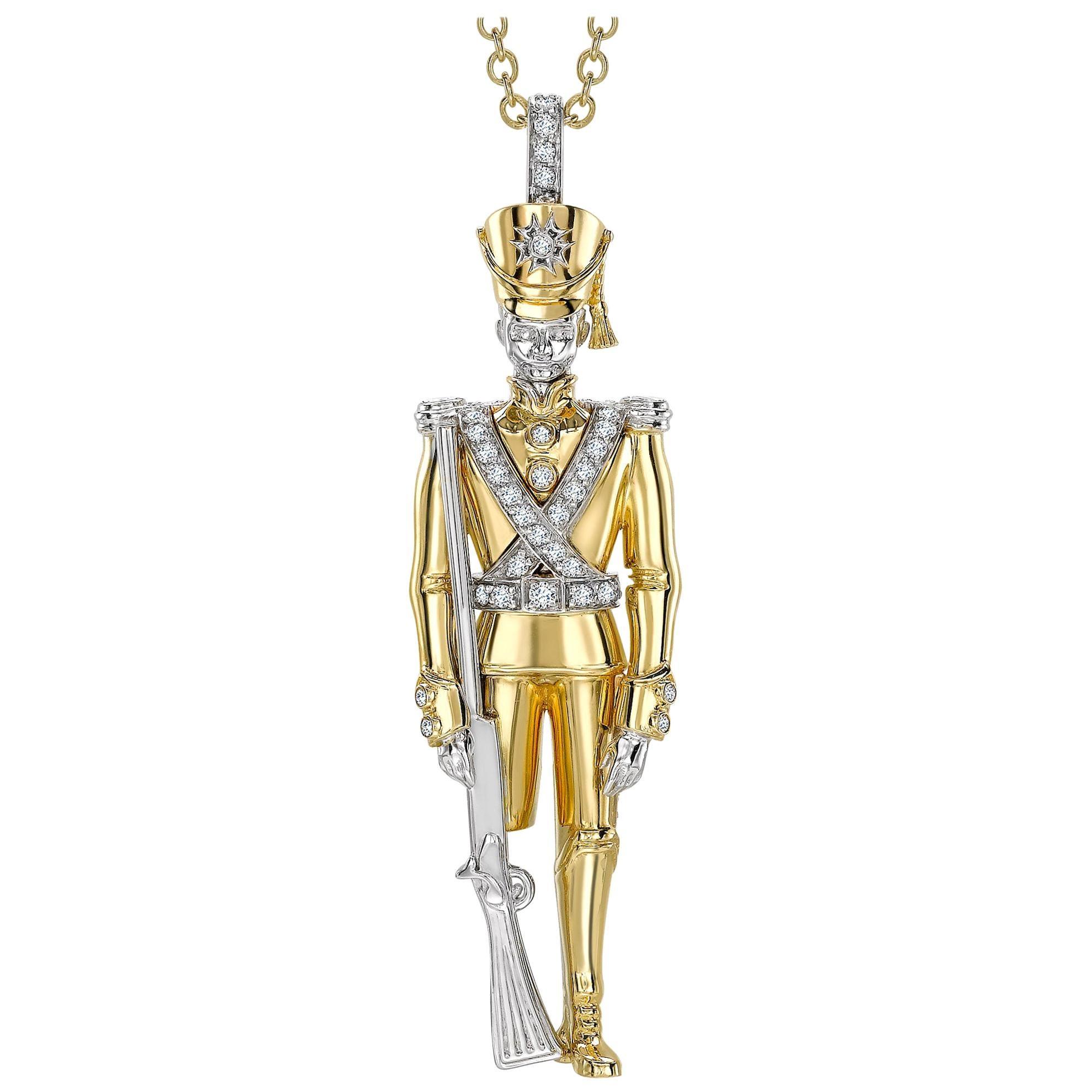 Sybarite Jewellery White Diamond 18 Karat Yellow Gold Soldier Pendant Necklace