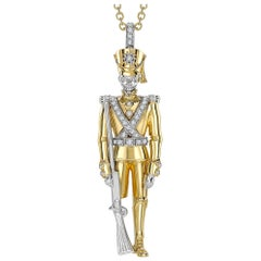 Sybarite Jewellery White Diamond 18 Karat Yellow Gold Soldier Pendant Necklace