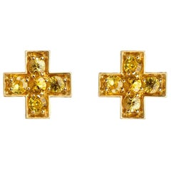 Sybarite Jewellery Yellow Sapphire Stud Earrings 18 Karat Gold