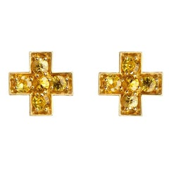 Sybarite Jewellery Yellow Sapphire Stud Earrings 18 Karat Yellow Gold