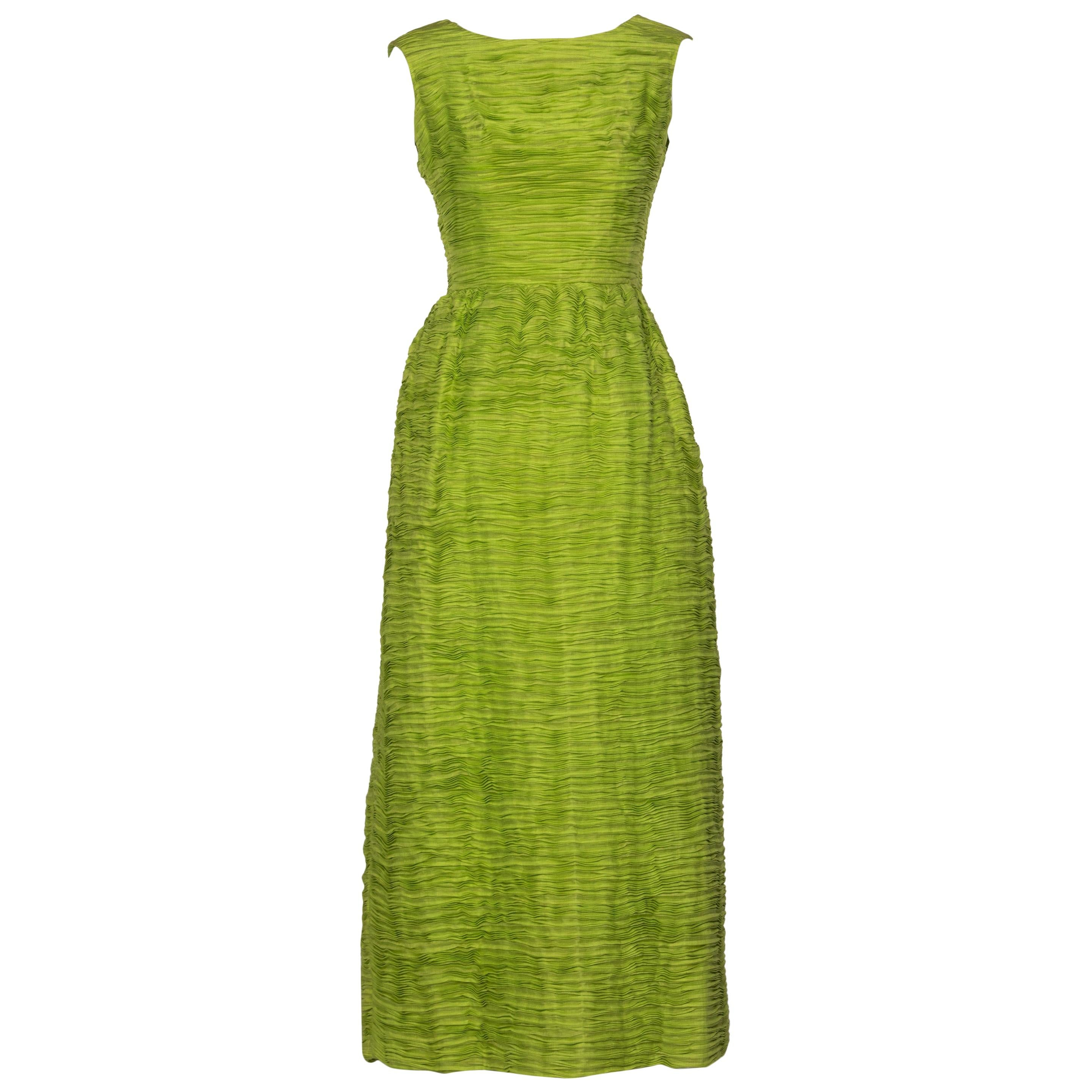 Sybil Connolly Couture Green Pleated Linen Dress, 1960s