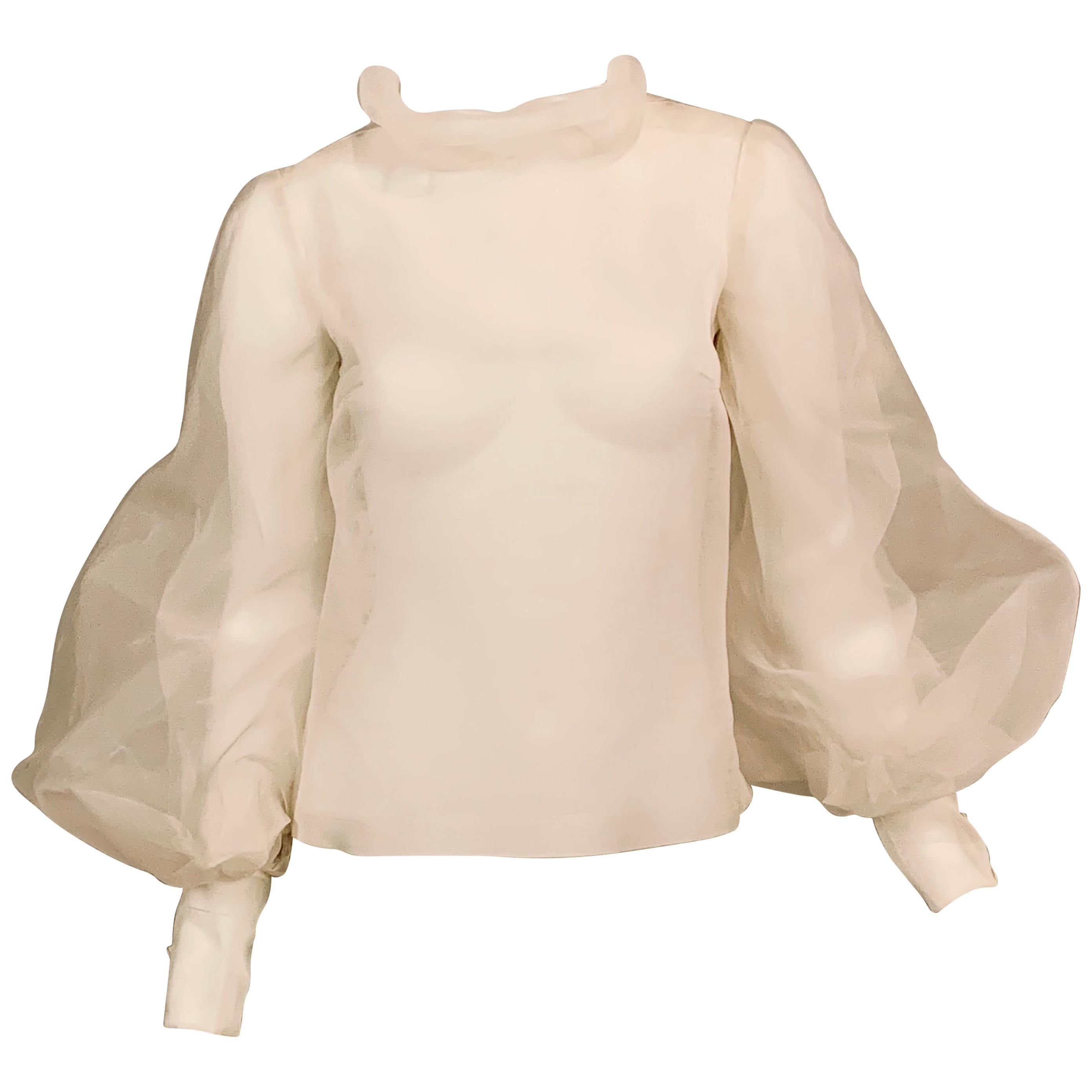Sybil Connolly Couture Sheer White Silk Organza Blouse with Very Full Sleeves