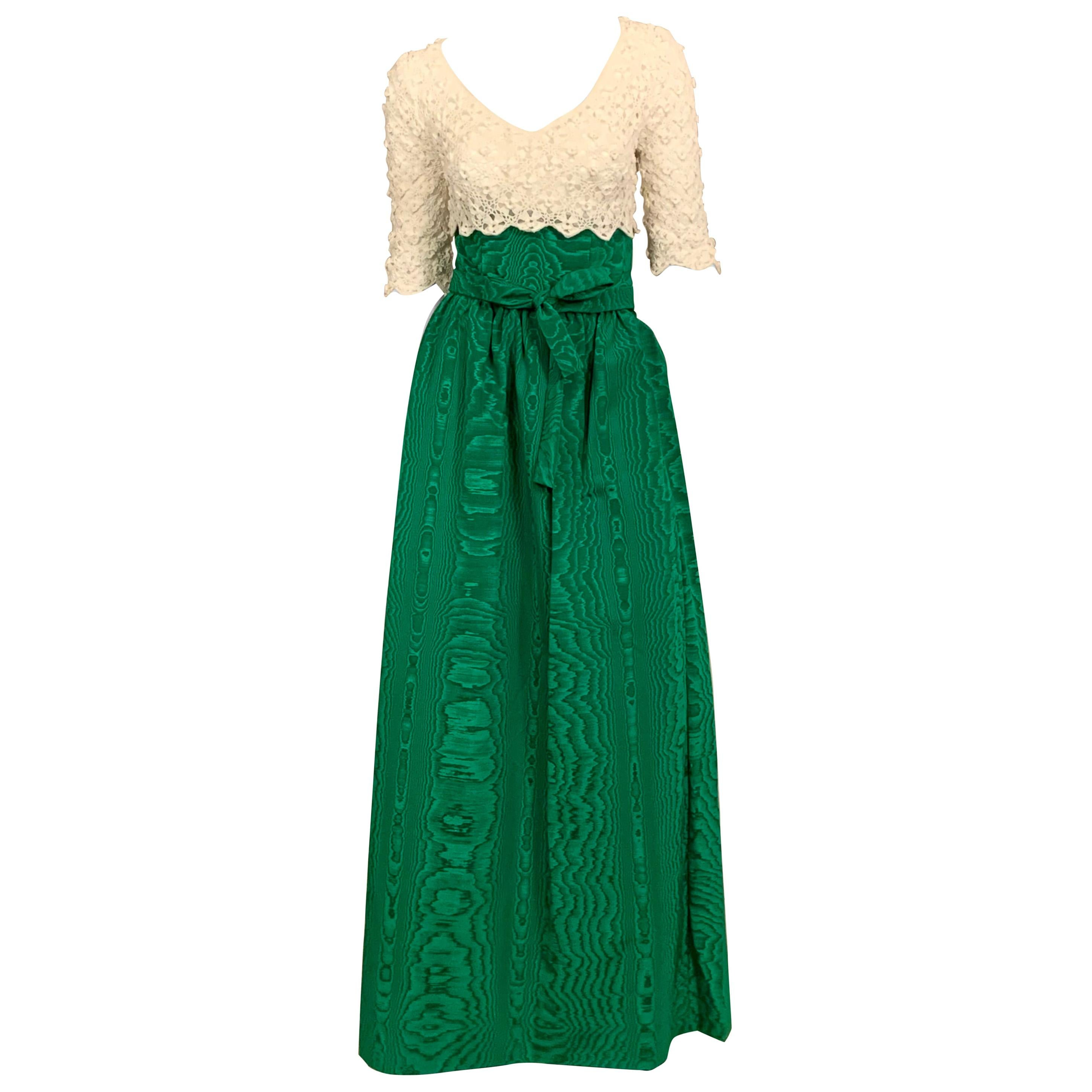 Sybil Connolly Couture Two Piece Dress  Irish Lace and Kelly Green Silk