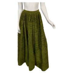 Sybil Connolly Haute Couture Olive Green Hand Pleated Linen Evening Skirt