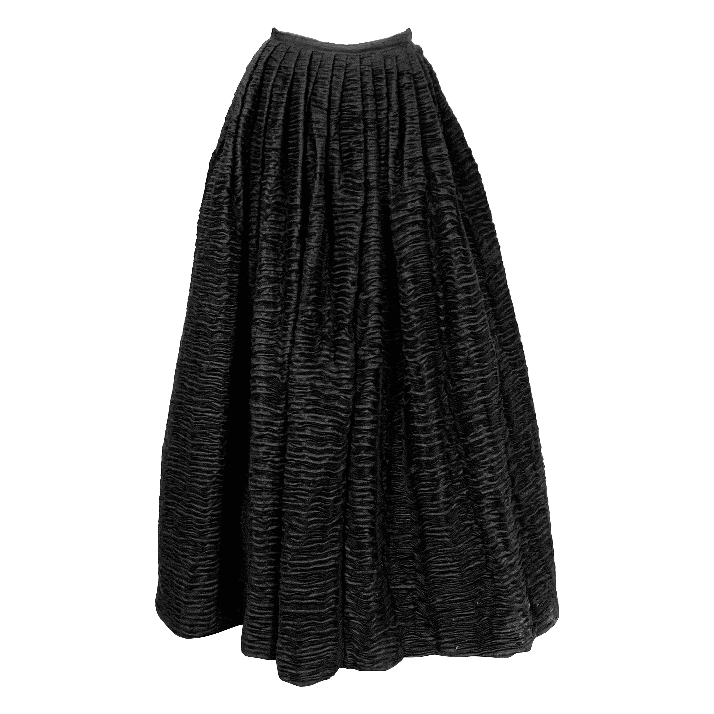 Sybil Connolly Irish Couture Black Hand Pleated Linen Evening Skirt