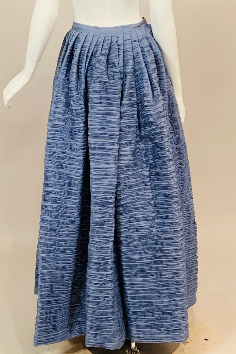 Sybil Connolly Irish Couture Hand Pleated Blue Linen Evening Skirt In Good Condition For Sale In New Hope, PA