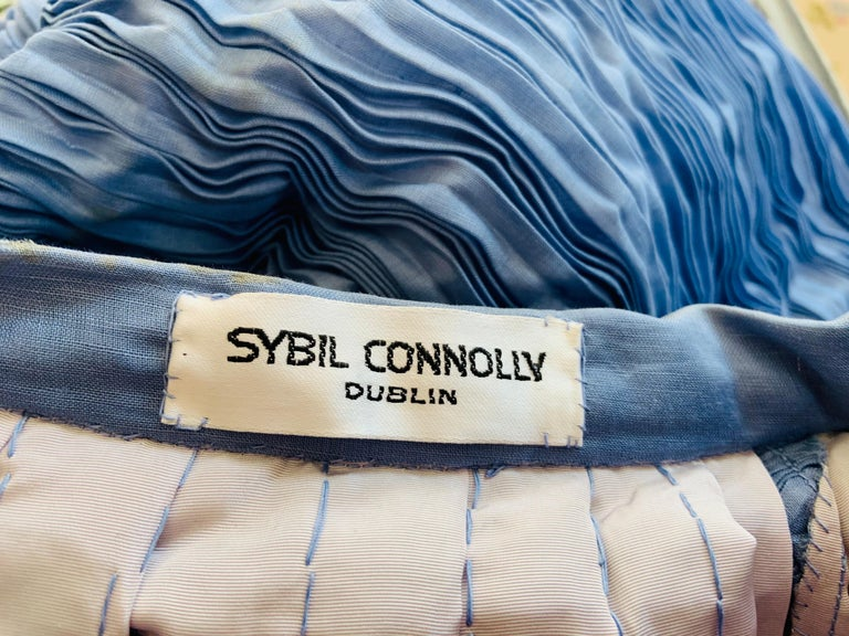 Sybil Connolly Irish Couture Hand Pleated Blue Linen Evening Skirt For Sale 3