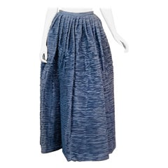 Sybil Connolly Irish Couture Hand Pleated Blue Linen Evening Skirt