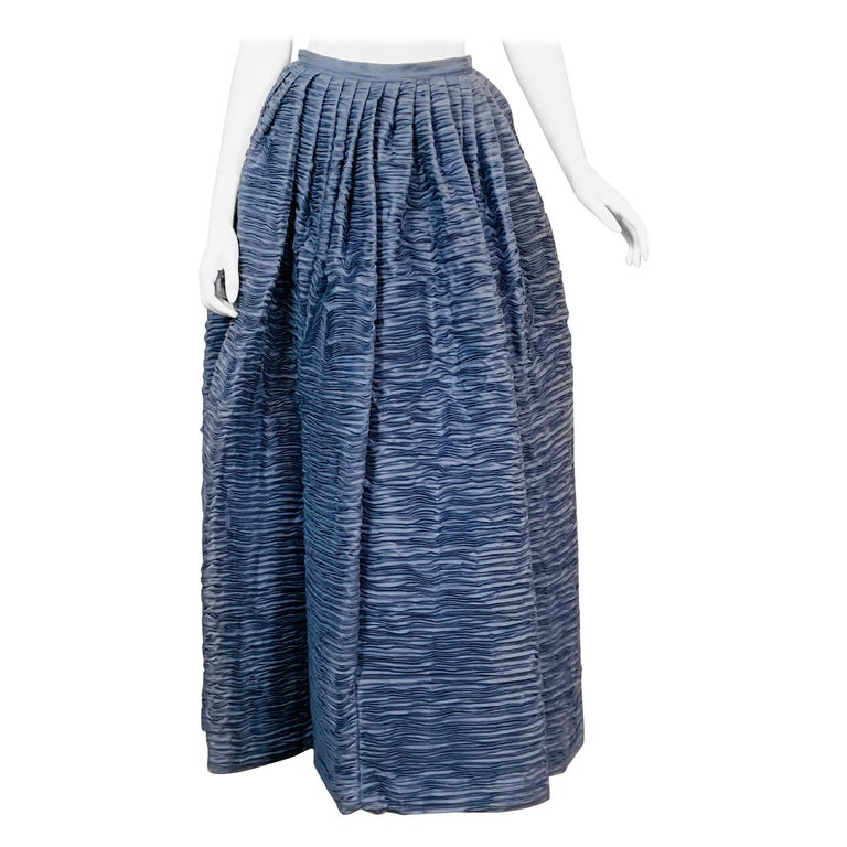 Sybil Connolly Irish Couture Hand Pleated Blue Linen Evening Skirt For Sale