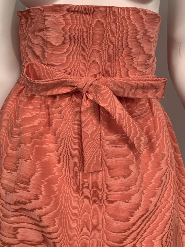 Orange Sybil Connolly Pink Moire Silk Evening Skirt with a Cummerbund Style High Waist For Sale