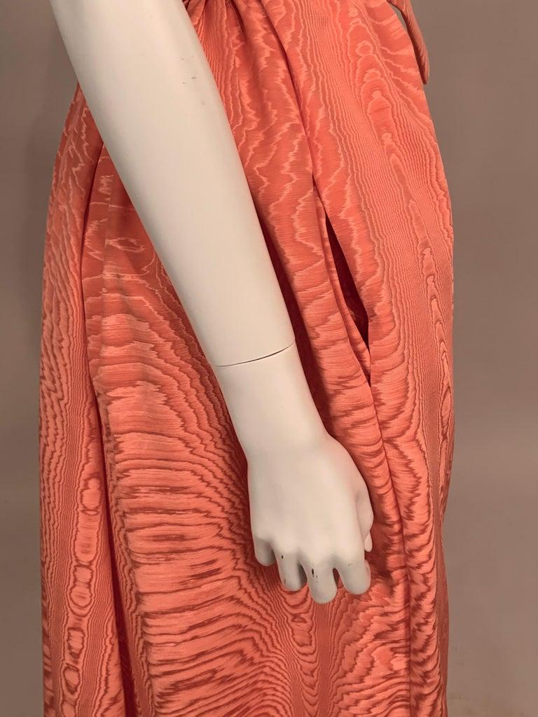 Women's Sybil Connolly Pink Moire Silk Evening Skirt with a Cummerbund Style High Waist For Sale