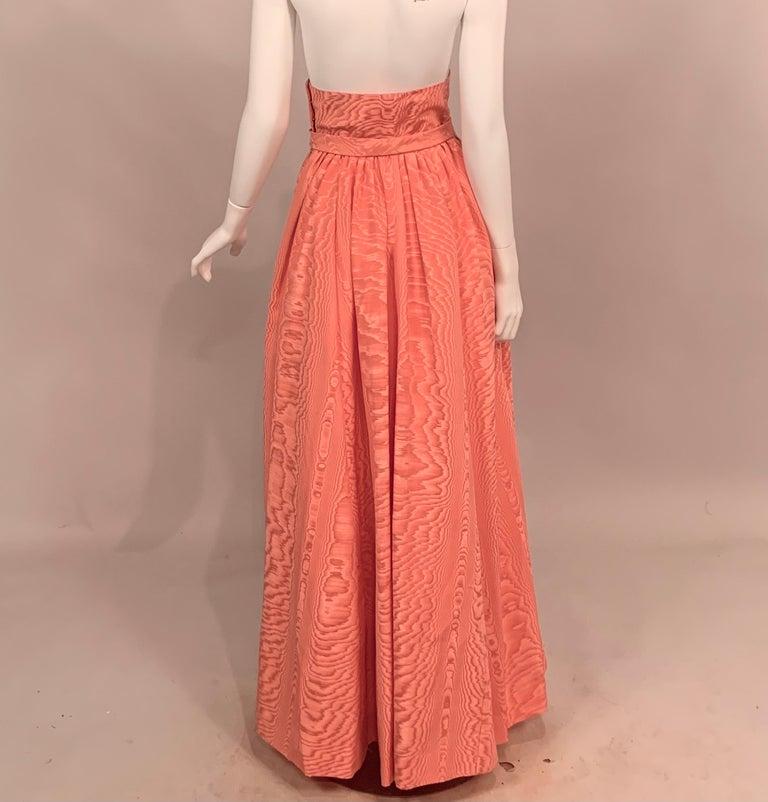 Sybil Connolly Pink Moire Silk Evening Skirt with a Cummerbund Style High Waist For Sale 1