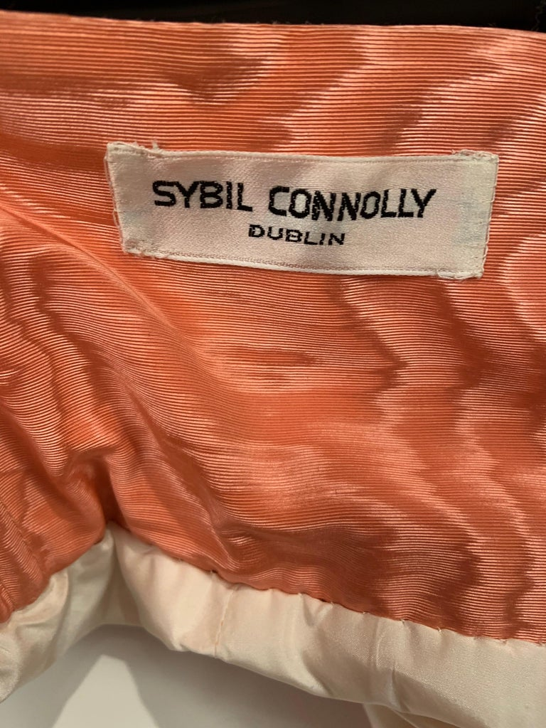 Sybil Connolly Pink Moire Silk Evening Skirt with a Cummerbund Style High Waist For Sale 3