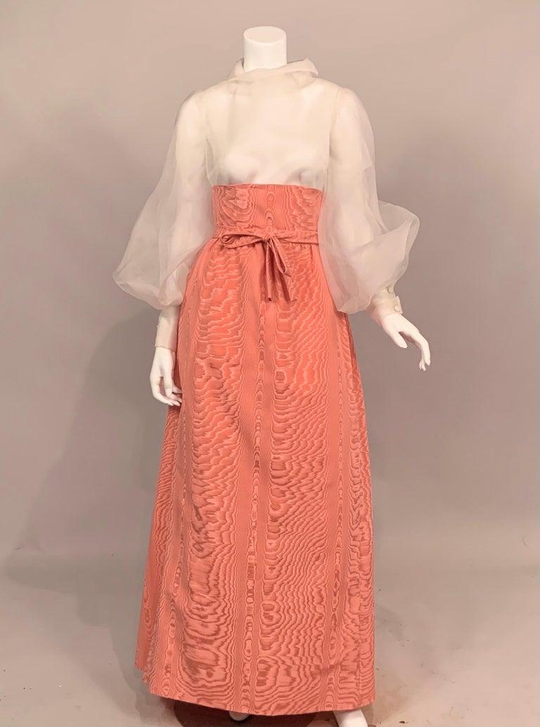 Sybil Connolly Pink Moire Silk Evening Skirt with a Cummerbund Style High Waist For Sale 4