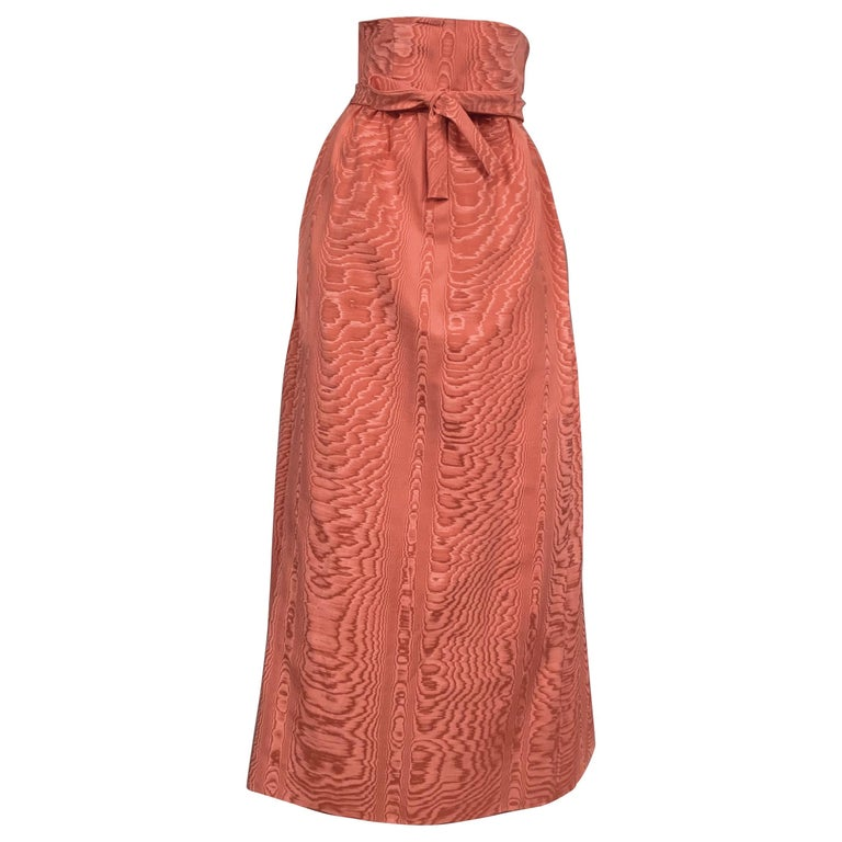 Sybil Connolly Pink Moire Silk Evening Skirt with a Cummerbund Style High Waist For Sale