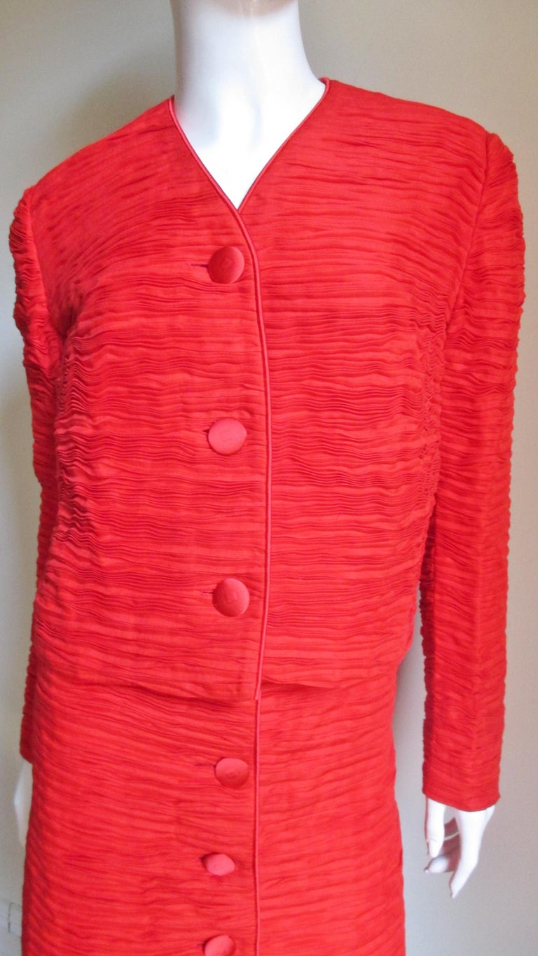 Red Sybil Connolly Skirt Suit 1960s For Sale
