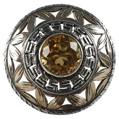 Sybil Dunlop, Sterling Silver Gilt and Citrine Target Brooch, London 1965