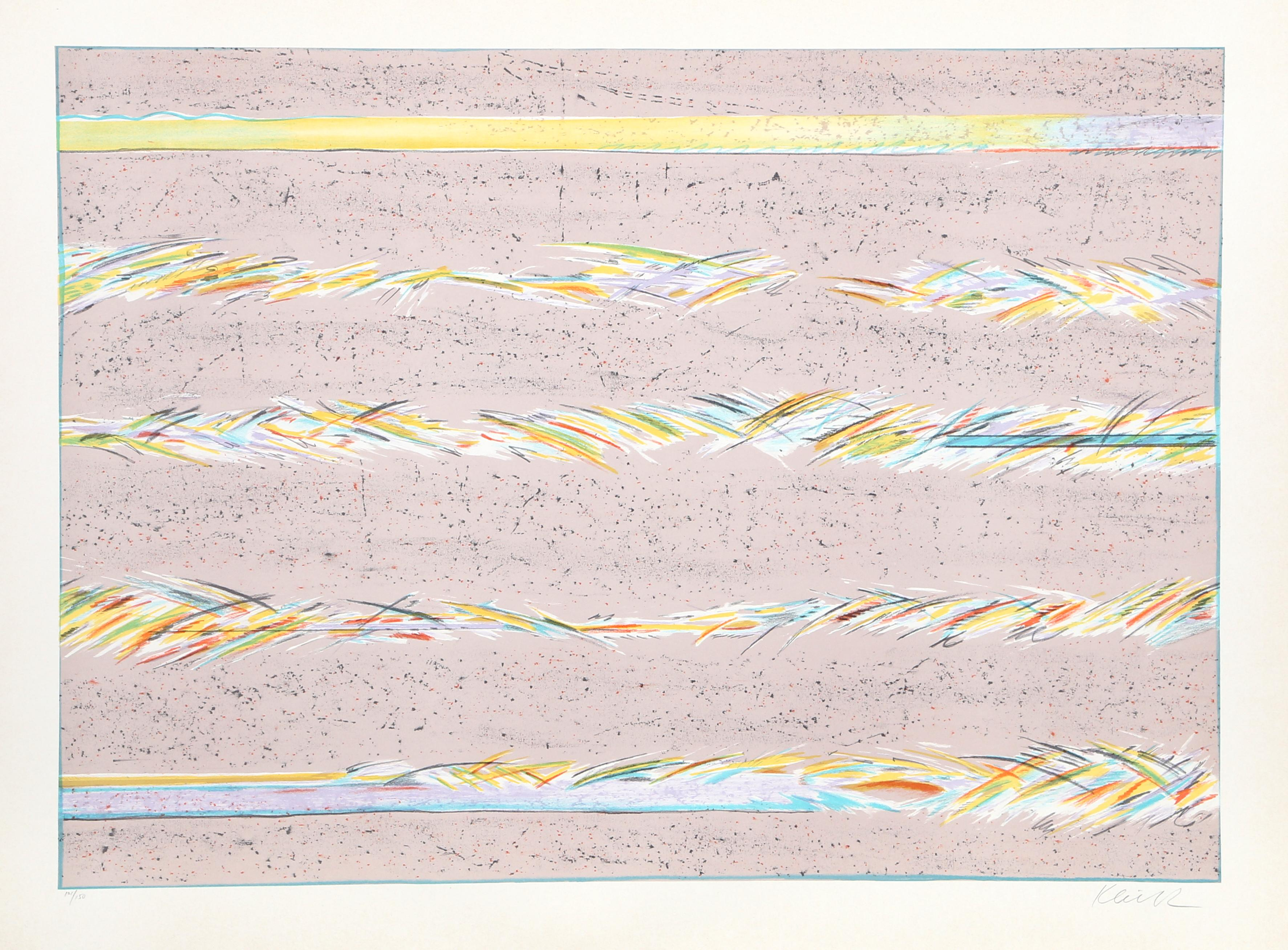Dream Fields, Pink Abstract Lithograph by Sybil Kleinrock