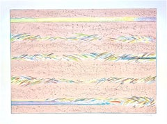 DREAMFIELDS I: PINK, Hand Drawn Lithograph, Pastel Abstract Drawing