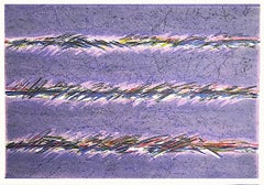 DREAMFIELDS II: PURPLE Hand Drawn Lithograph, Pastel Abstract Drawing